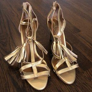 Gorgeous gold tassel Rowen shoes, 10,